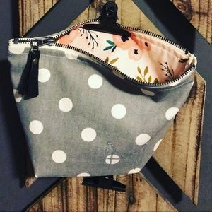 Handbags - Handmade makeup bag in floral and polka dot